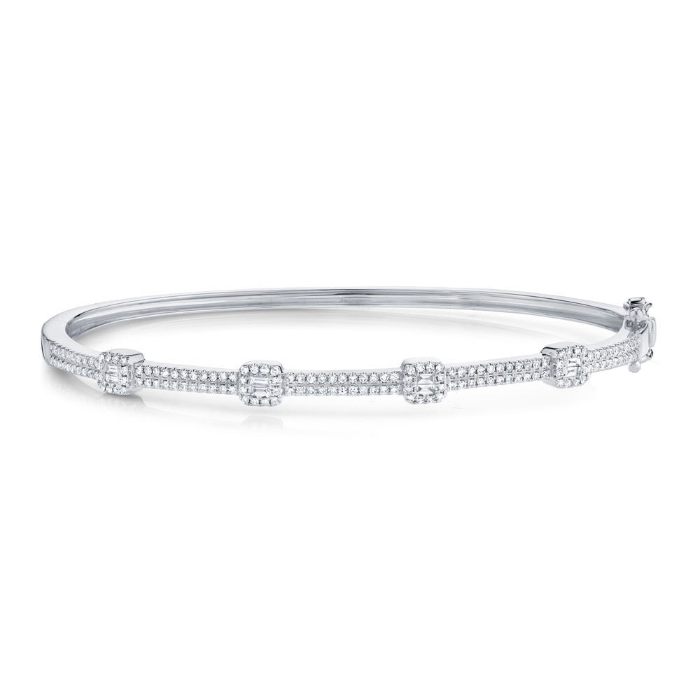 Shy Creation Square Bangle .52ctw in 14k White Gold SC55005545ZS