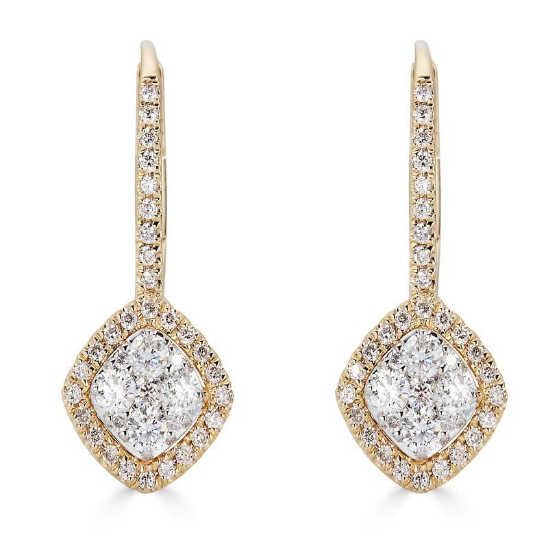 Diamond 1/2ctw Cushion Cut Cluster Halo Drop Earrings in 14k Yellow & White Gold