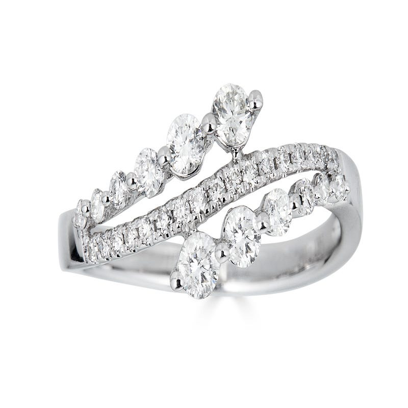 Diamond 1/2ctw 3-Row Bypass Fashion Ring in 14k White Gold