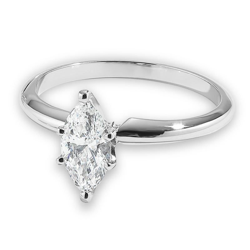Marquise-Cut 5/8ct. Diamond Solitaire Engagement Ring 14k White Gold