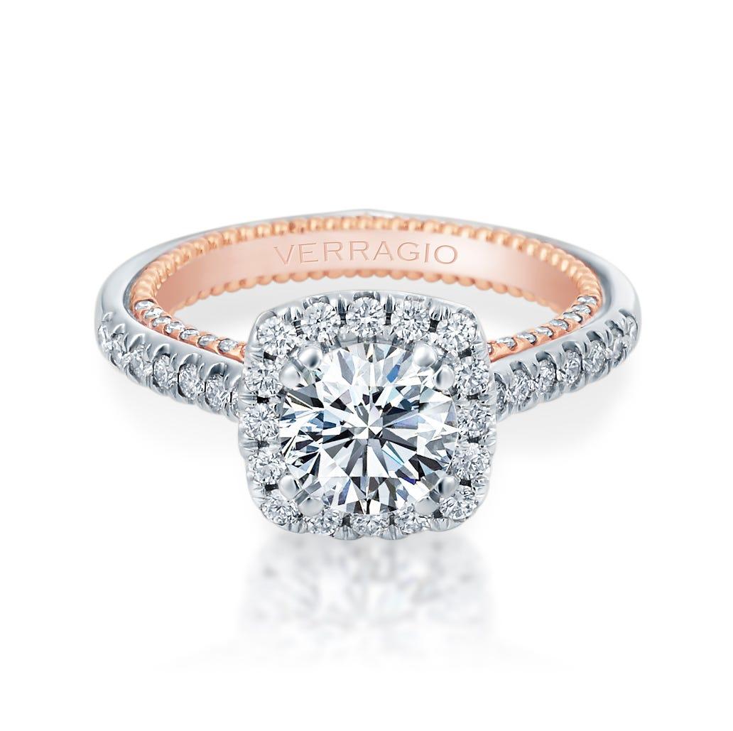 Verragio Couture Cushion Diamond Halo Engagement Ring Setting 0449CU-2WR