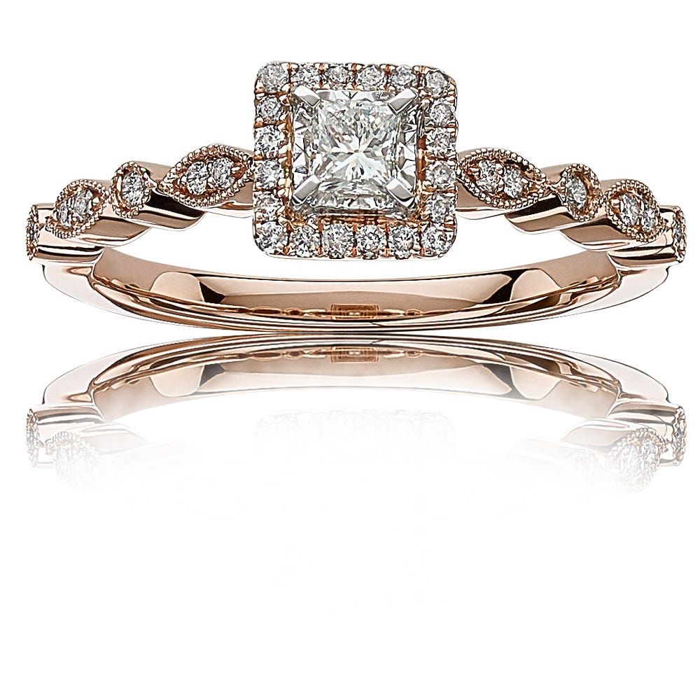 Ellie. Diamond Princess-Cut Halo Engagement Ring in 14k Rose Gold