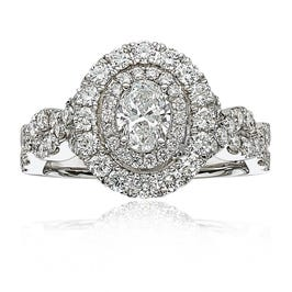 Ophelia. Oval Diamond Double Halo Engagement Ring in 14k White Gold