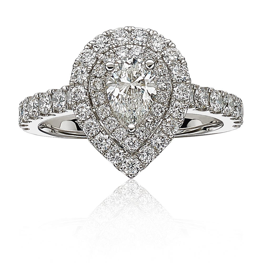 Brooke Pear Diamond Engagement Ring In 14k White Gold