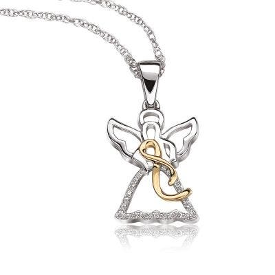 Promise of Hope Diamond Angel with Ribbon Pendant