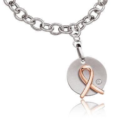 Promise of Hope Pink Ribbon Diamond Disc Link Bracelet