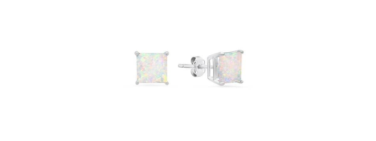 Princess Cut Created Opal Earrings