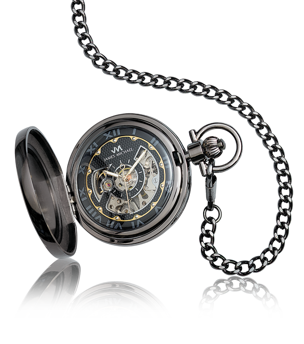 Satin Gunmetal James Michael Skeleton Dial Pocket Watch