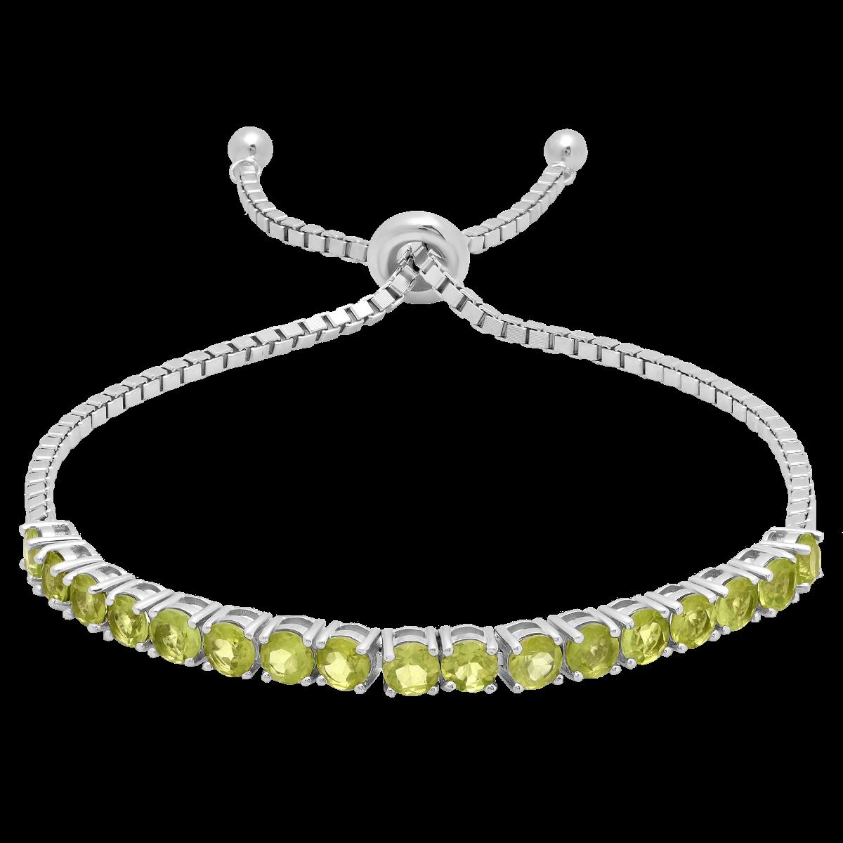 Peridot Adjustable Bolo Bracelet in Sterling Silver