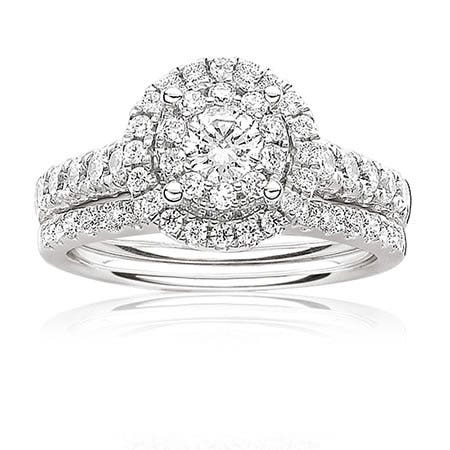 Serie Brilliant-Cut Diamond Halo Engagement Ring 1ct. T.W.