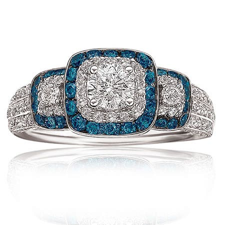 Kate. Genuine Blue & White Diamond Engagement Ring in 14K White Gold