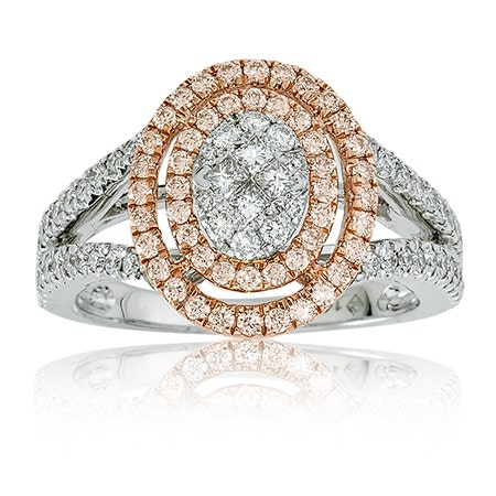 Diamond 1ct. Double Oval Halo Split Shank Ring in White & Rose Gold