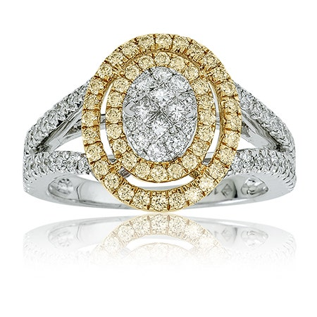 Diamond 1ct. Double Oval Halo Split Shank Ring