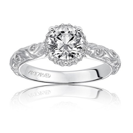 Catrina. ArtCarved Diamond Engagement Ring Setting in 14k White Gold
