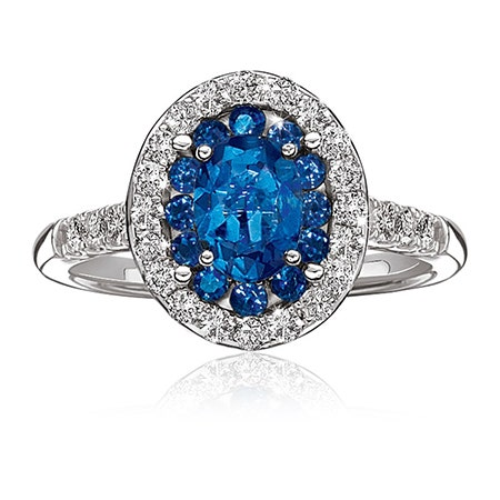 Blue Sapphire & Diamond Halo White Gold Ring