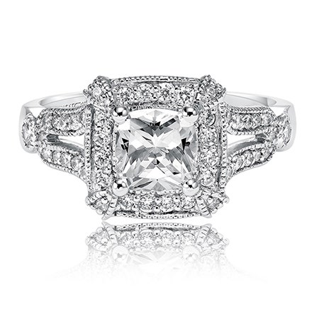 Maxine. ArtCarved Diamond Engagement Ring Setting in 14k White Gold