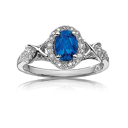 Sapphire & Diamond Halo Ring in 10k White Gold