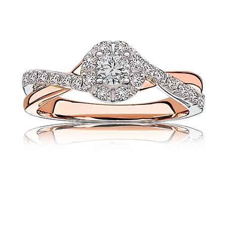 Nora. Diamond ½ct. Halo Engagement Ring in 14k White & Rose Gold