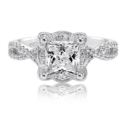 Leslie. ArtCarved Diamond Engagement Ring Setting in 14k White Gold