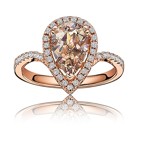 Morganite Pear-Shape Diamond Halo Ring in 14k Rose Gold - See more at: https://rogersandhollands.com/morganite-pear-shape-diamond-halo-ring-in-14k-rose-gold#sthash.U5vftFHk.dpuf