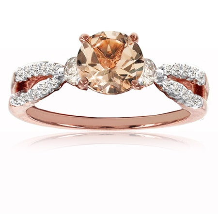 Morganite & Diamond Twist Shank Ring in 10k Rose Gold