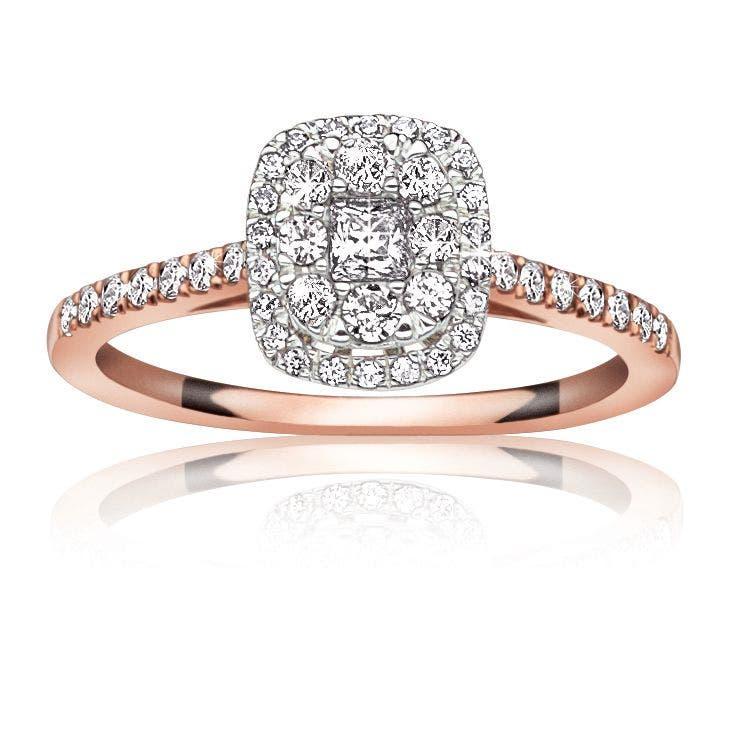 Jules. 1/2ctw. Diamond Halo Pavé Engagement Ring in 14K White Gold & Rose