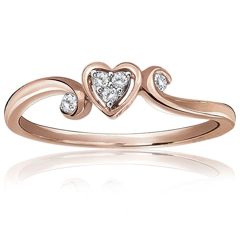 Diamond Cluster Heart Shape Promise Ring in 10K Rose Gold