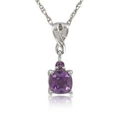 Created Alexandrite & Diamond Pendant Sterling Silver