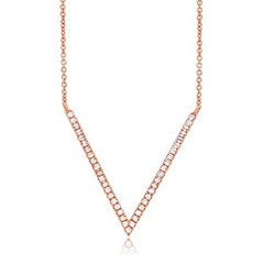 Shy Creation: Diamond V-Shape Necklace 14k Rose Gold