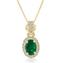 Emerald & Diamond Halo Pendant in 10k Yellow Gold