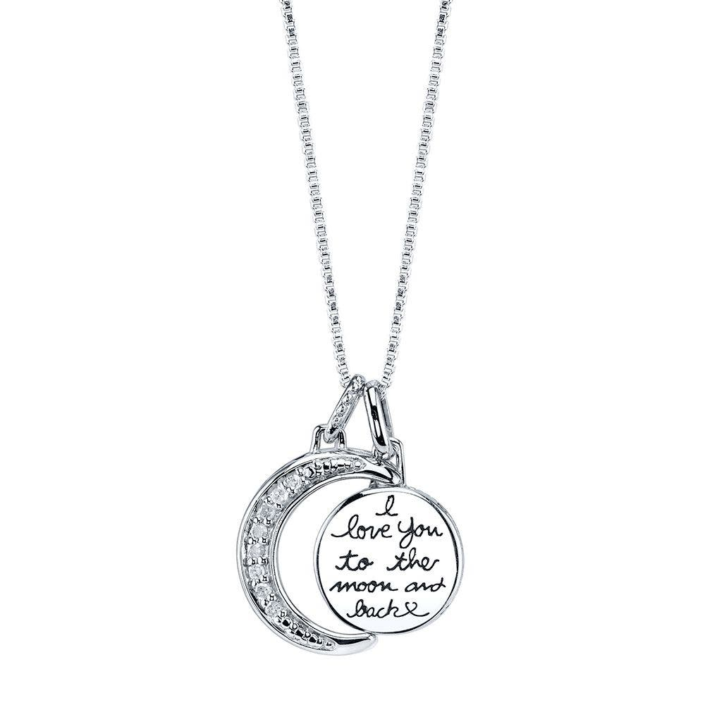 Love You To The Moon And Back Script Pendant