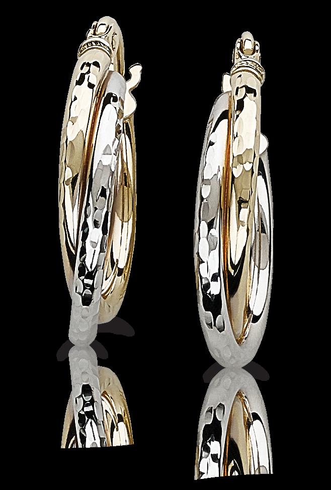 Criss-Cross Etched Two-Tone Hoop Earrings