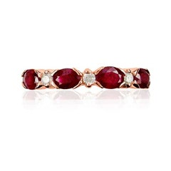 Ruby Oval & Diamond Band in 10k Rose Gold