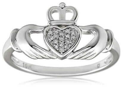 Diamond Irish Claddagh Ring