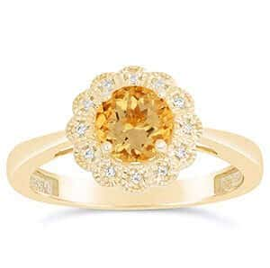 Citrine Floral Engagement Ring