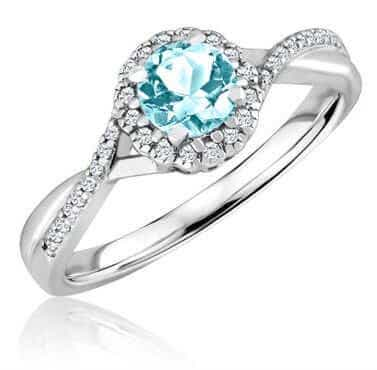 Aquamarine Diamond Infinity Ring