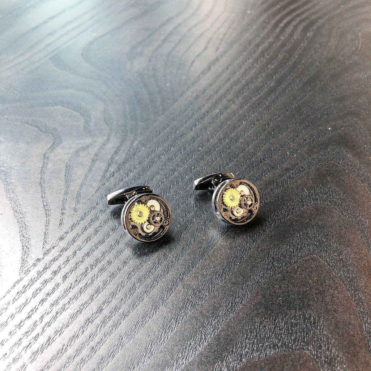 Round Bronze Tri-Color Gear Cufflinks
