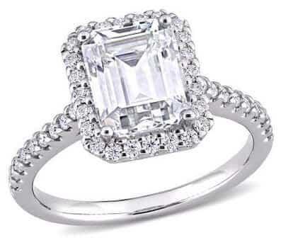 Emerald-cut Moissanite Ring