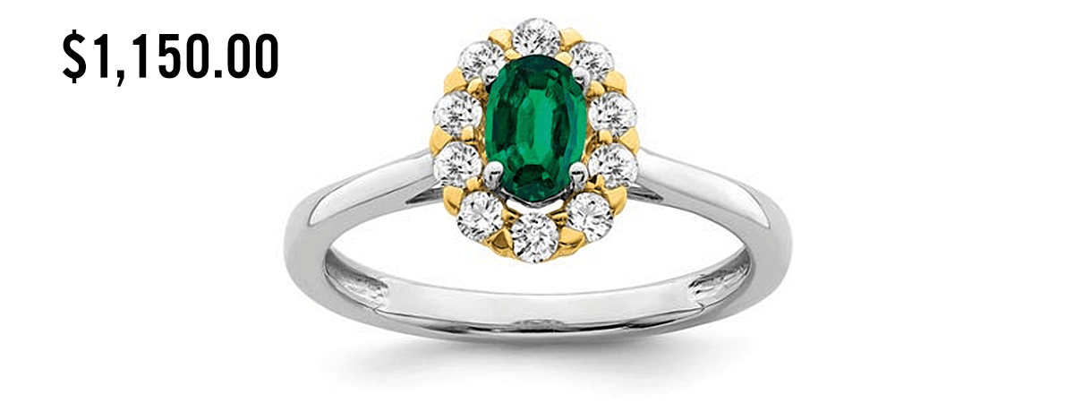 lab grown diamond with emerald