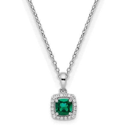 Cushion-Cut Created Emerald & Diamond Halo Pendant in Sterling Silver
