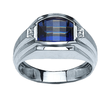 IBGoodman Men's Created Sapphire & Diamond Ring in Sterling Silver