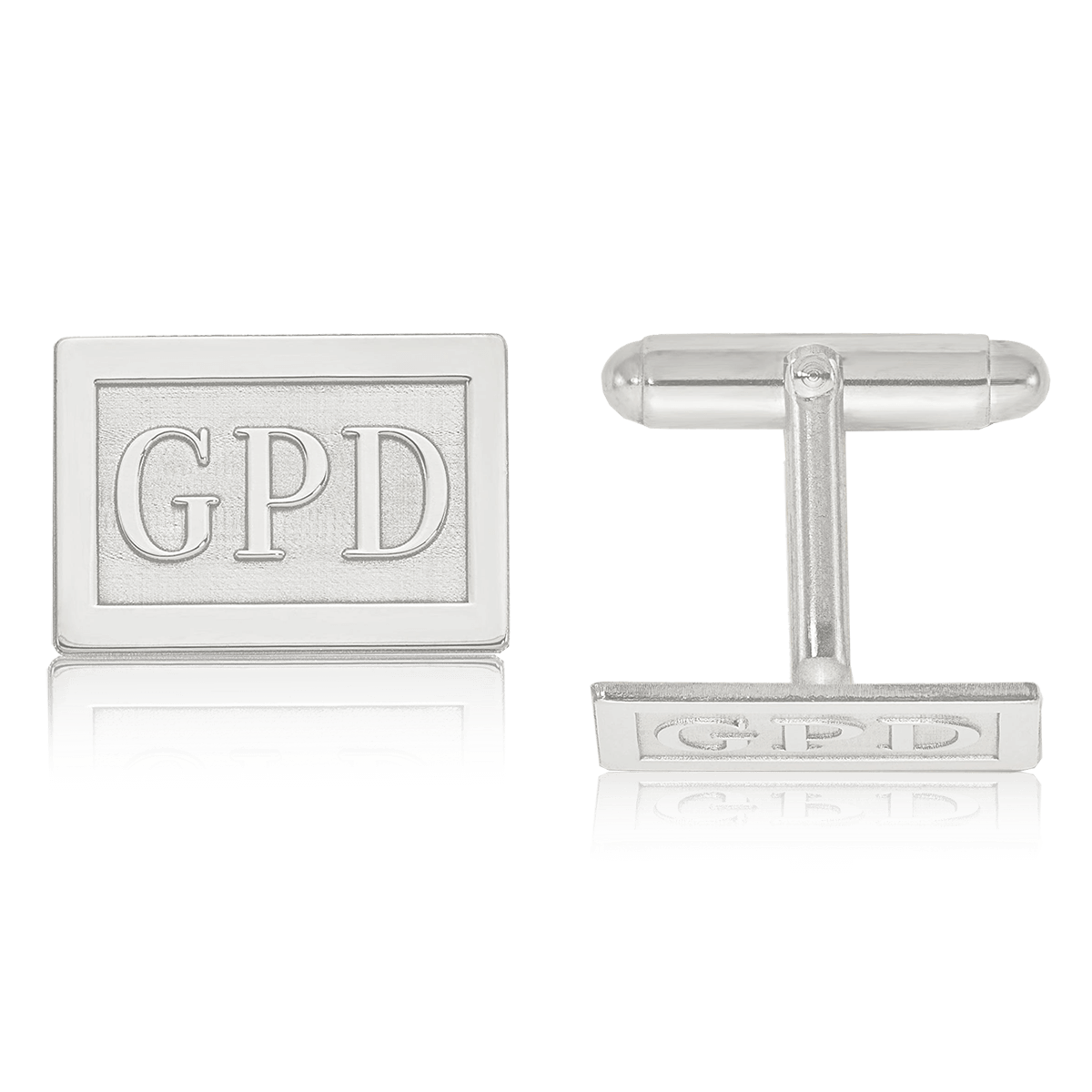 Raised Letters Rectangle Monogram Cuff Links in Sterling Silver