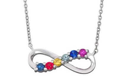 mulit color sapphire infinity necklace