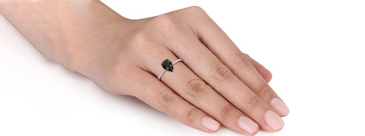 black diamond pear shape ring