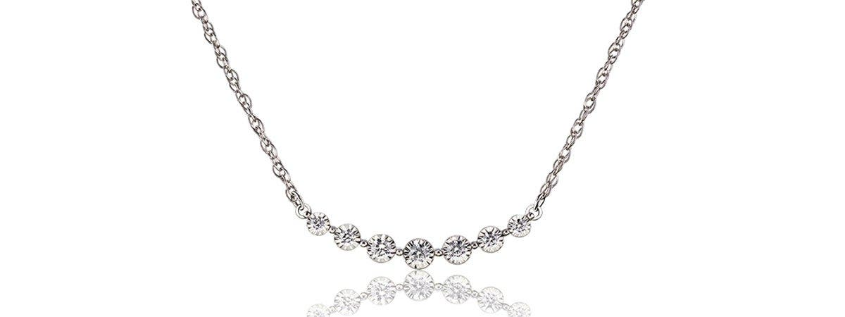 Curved Bezel-Set Round Diamond Necklace in 10k White Gold